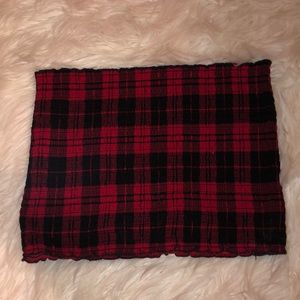 Red and Black Plaid Tube Top
